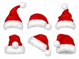 Santa Red Hat. Party Fur Christmas Traditional Velvet Hat Vector Realistic Images. Cap Christmas, Ha