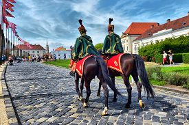 Budapest, Hungary, August 07, 2019, Hungarian Hussars Patrol In The Royal Palace, Budapest, Hungary,