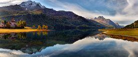 Mountain Lake Panorama With Mountains Reflection. Idyllic Look. Autumn Forest. Silvaplana Lake, Swit
