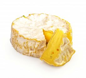 Fresh Slice Camembert Cheese Natural, On White Background