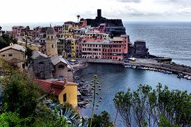 Aerial View Of Vernazza Fishing , Cinque Terre National Park, Liguria, Italy.