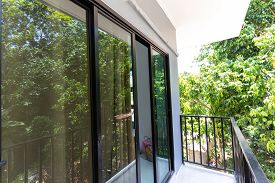 Modern Widow Glass With Black Aluminium Frame In House