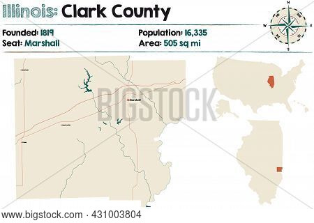 Large And Detailed Map Of Clark County In Illinois, Usa.