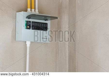 Consumer Unit With Automatic Fuses And Switchboard With Circuit Breakers. Electrical Panel In Home D