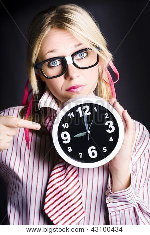 Punctual Woman Late For Time Schedule Deadline