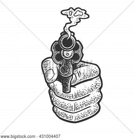 Smoking Revolver Gun In Hand Sketch Engraving Vector Illustration. T-shirt Apparel Print Design. Scr