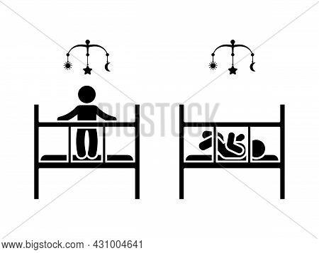 Stick Figure Newborn Kid In Baby Bed, Cot, Crib, Cradle Vector Icon Illustration Set. Stickman Boy I