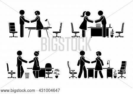 Stick Figure Business Men And Women Negotiation Vector Icon Set. Stickman Office Workers Handshaking