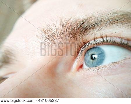 Selective Focus Eye Of Caucasian Man. Macroshot Texture Of Male Skin Surface, Retina, Eyelashes, Eye