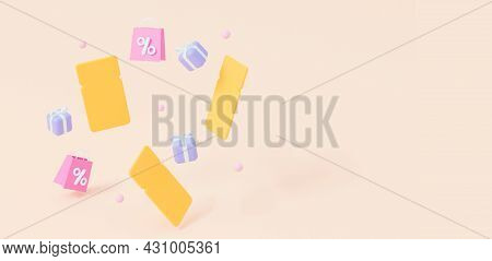 Flying Coupons, Gifts And Bags. The Concept Of Sales, Discounts For Websites. With An Empty Space. 3