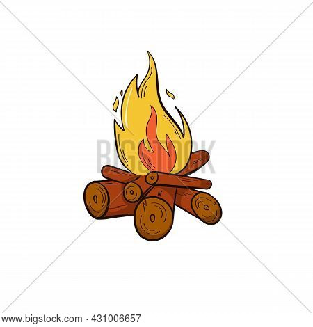 Firewood Fire In Hand Drawn Style. Isolated On A White Background. Camping, Recreation, Tourism. Red