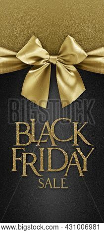 Gift Card With Golden Ribbon Bow And Black Friday Sale Text, Isolated On Black Background Template W