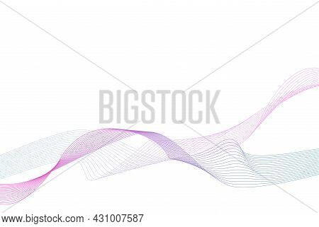 Abstract Wavy Background. Colorful Wave Lines. Curved Wavy Line. Element For Design. Vector Eps.10