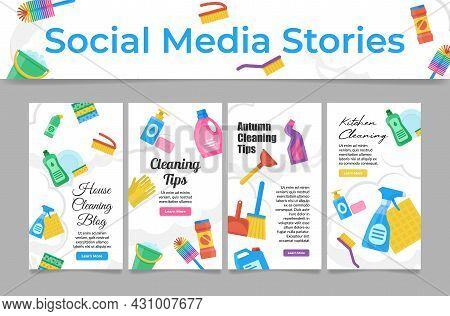 Social Media Cleaning Service Set Vector Flat Illustration Homepage User Interface Of Household