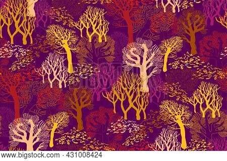 Autumn Colored Landscape With Silhouettes Of Bare Trees Without Leaves On Purple Background. Contras