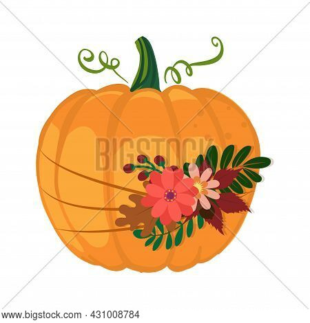 Autumn Pumpkin With Beautiful Brunch Of Flowers And Fall Leaves - Hand Drawn Illustration. Autumn Co
