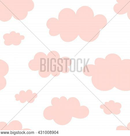 Simple Seamless Background With Fluffy Pink Cartoon-like Clouds. Design For Fabric, Textile Print, W