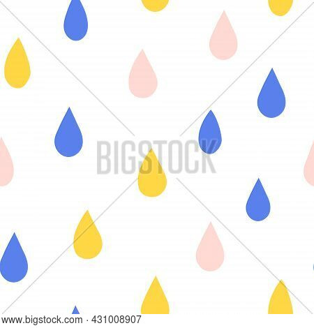 Cute Seamless Pattern With Colored Raindrops. Iridescent Rain. Set Of Color Drops For Design Isolate