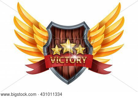 Victory Game Badge Icon, Ui Vector Trophy Award, Medieval Shield, Golden Wings, Star, Red Ribbon. Le