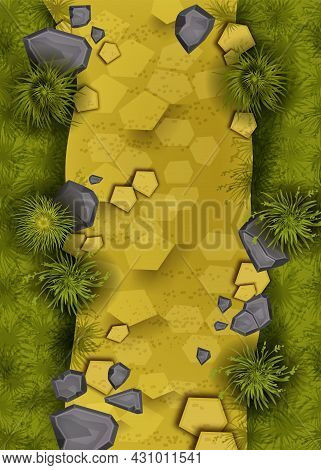 Game Landscape Top View Background, Vector Yellow Sand Path Ground Level Illustration, Stone, Bush,