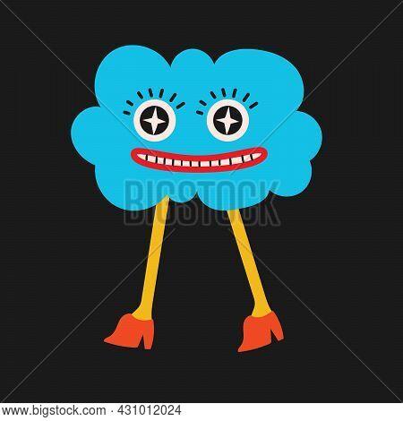 Colored Vector Illustartion Of Crazy Cloud In Cartoon Flat Design