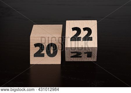 Year 2021 Turning To 2021 On Wooden Blocks, New Year Concept
