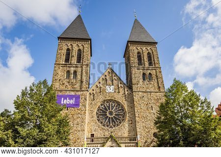 Gronau, Germany - August 26, 2021: Cityscape Of Gronau With Historic Catholic St Anthony Church And