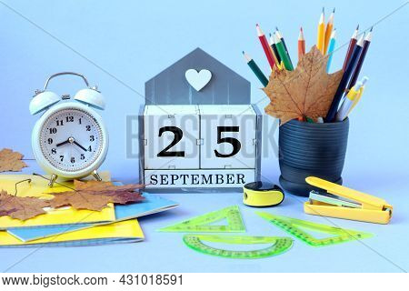 Calendar For September 25 : The Name Of The Month Of September In English, Cubes With The Number 25,