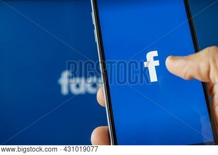 California, United States. Aug 08, 2021: Phone Showing Facebook App On The Screen. Facebook Is A Pho
