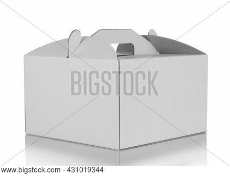White Carton Takeaway Cake Box Isolated On White Background