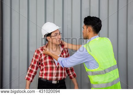 Engineers And Workers Are Fighting At Construction Site. Workplace Conflict, Rivalry And Team Concep