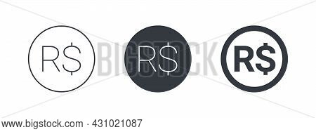 Sign Of The Brazilian Real. Sign Of The Brazilian Currency. Money Symbols Of The World. Vector Illus