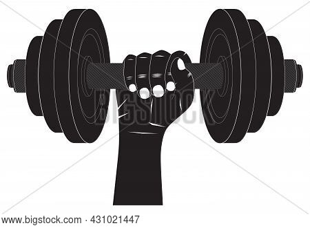 Dumbbell In Hand. Silhouette. Fitness Sport. Bodybuilding Sport.