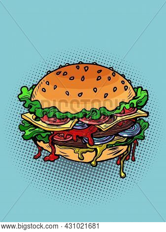 Juicy Multi-layered Burger With Cutlet And Tomato Salad, Fast Food And Street Restaurants