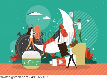 Bedtime Routine. People Preparing For Bed, Flat Vector Illustration. Advices For Good And Healthy Sl