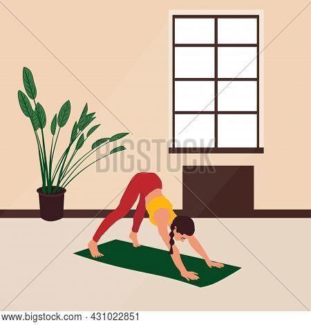 Vector Image Of A Girl In An Asana In A Yoga Class