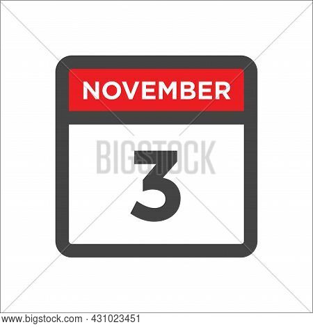 November 3 Calendar Icon W Day Of Month