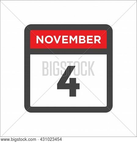 November 4 Calendar Icon W Day Of Month