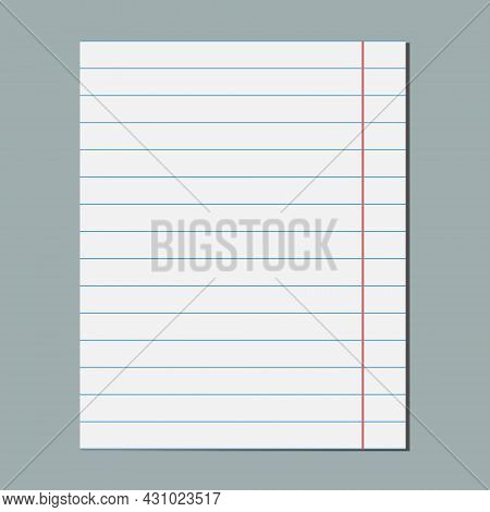 Graphical Blank Paper Sheet, Blank Lined Paper, Student Notebook Page. Design Template, Mockup. Isol