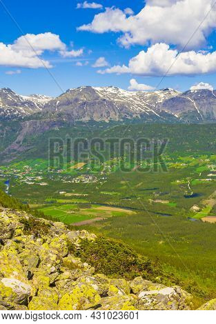 Beautiful Valley Panorama Norway Hemsedal Hydalen With Snowed In Mountains.