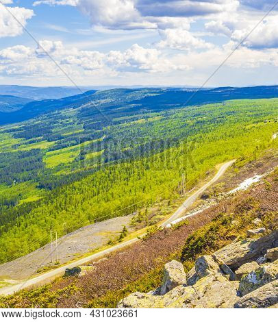 Beautiful Valley Panorama Norway Hemsedal With Colorful Mountains.