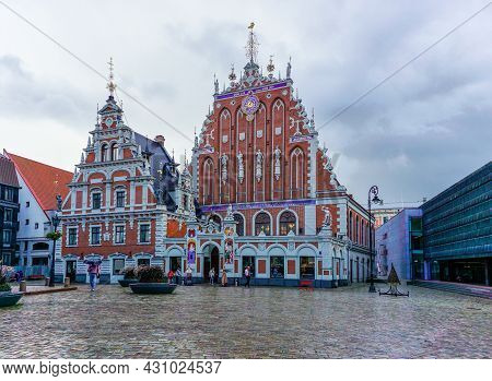 Riga, Latvia - 19 August, 2021: View Of The Historic City Hall Building In The Old City Center Of Ri