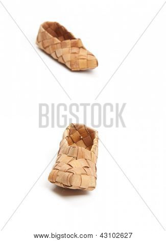 bast, ancient russian shoes, isolated on white poster