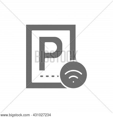 Car Parking With Wi-fi, Smart Parking Area Grey Icon.