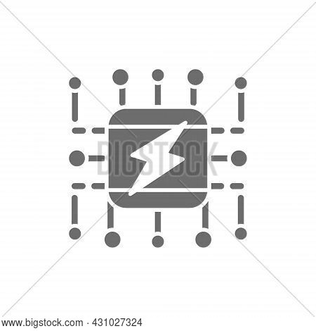 Power Supply System, Smart Electricity System Scheme Grey Icon.