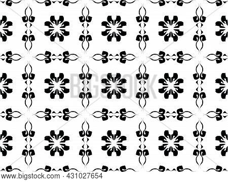 Black And White Floral Seamless Pattern - Vector Illustration