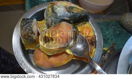 Frozen Raw Fish Seafood In Ice Quick Freeze Food Background Top View. Concept Of Organic Healthy Eat