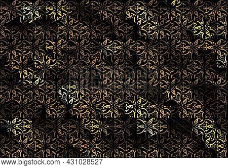Black And Gold Luxury Leaves Background. Vector Ornament Pattern. Paisley Elements. Great For Fabric