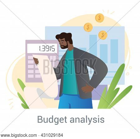 Financial Report Concept. Man Reads Receipt And Counts Amount Of Remaining Money. Statistics Of Expe