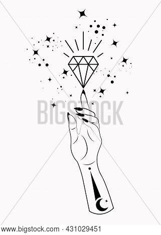 Mystical Woman Hand Alchemy Esoteric Magic Space Stars, Crystal Symbol, Sacred Geometry. Boho Style